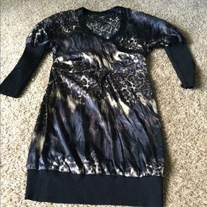 Bebe Leopard Black Women's Dress M 3/4 sleeves